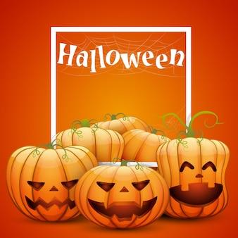 Een groep vrolijke halloween-pompoenen met een wit frame