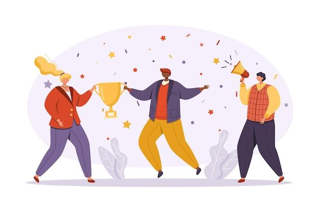 Een groep zakenlieden in lichte en moderne zakelijke kleding viert succes. een vrouw en een man houden een kopje vast en hun collega naast hen spreekt in een megafoon.