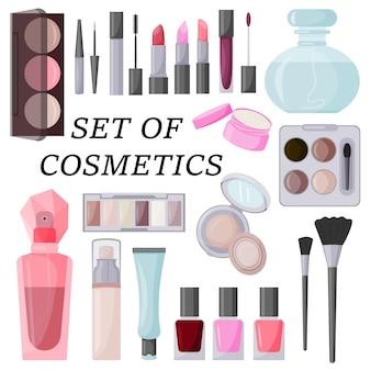 Een groot aantal decoratieve cosmetica vectorillustratie geïsoleerd op een witte achtergrond