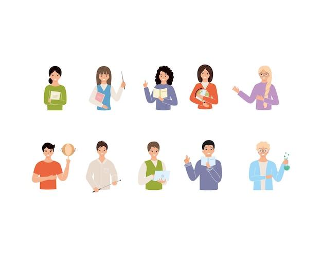 Een groot aantal docenten in verschillende vakken. set tekens voor de dag van de leraar. platte vectorillustratie op het thema van school en onderwijs.