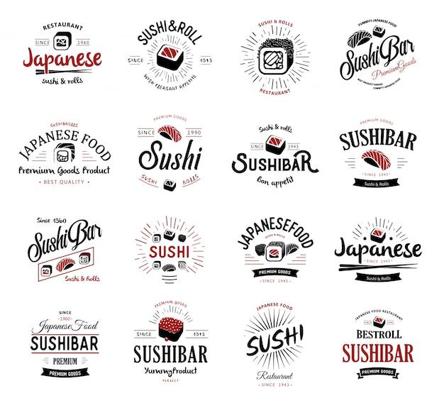 Een groot aantal logo's en emblemen van japans eten in een retrostijl met letters en pictogrammen en de vorm van sushi, roll, eetstokjes, linten en stralen.