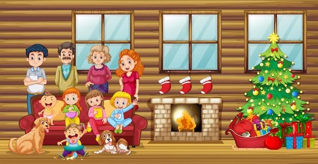 Een groot gezin in de woonkamer