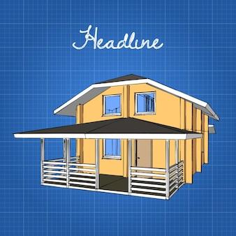 Een groot houten huis met een veranda en een gambrel dak.