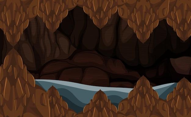 Een grot met vloedstenen