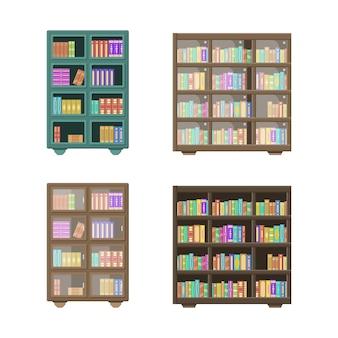 Een grote bibliotheek heeft een houten boekenkast vol gevouwen boeken die op boekenplanken staan. houten boekenrekken die op witte achtergrond worden geïsoleerd. onderwijs bibliotheek boekwinkel concept.