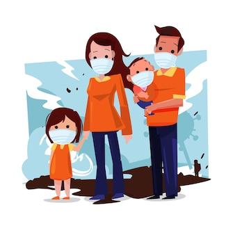 Een grote familie draagt samen medicijnmaskers om te beschermen tegen virussen of luchtvervuiling