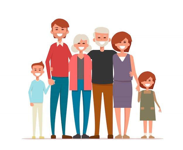 Een grote, gelukkige familie staat bij elkaar