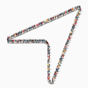 Een grote groep mensen in de vorm van de cursor.