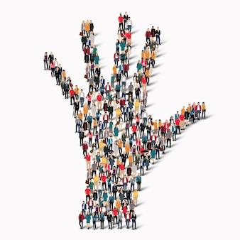 Een grote groep mensen in de vorm van een hand.