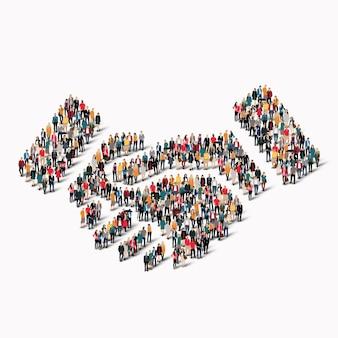 Een grote groep mensen in de vorm van een handdruk.