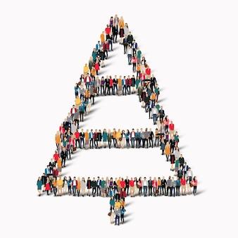 Een grote groep mensen in de vorm van een kerstboom Premium Vector