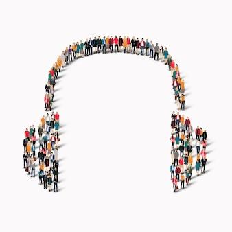 Een grote groep mensen in de vorm van een koptelefoon