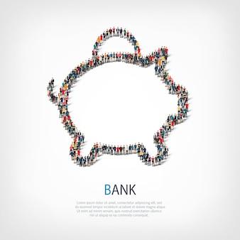Een grote groep mensen in de vorm van een spaarvarken. illustratie.