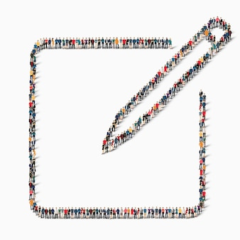 Een grote groep mensen in de vorm van een teken van de tablet, pen, pictogram.