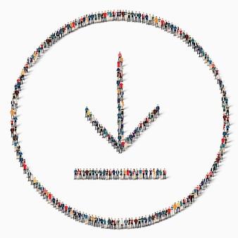 Een grote groep mensen in de vorm van een teken van laden, downloaden, pictogram.