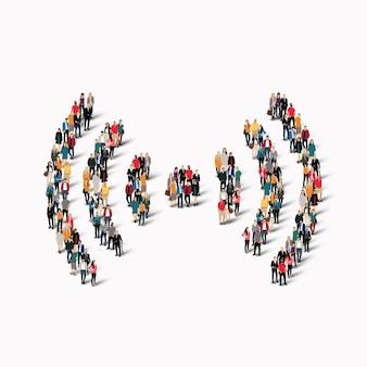 Een grote groep mensen in de vorm van een teken van wifi.