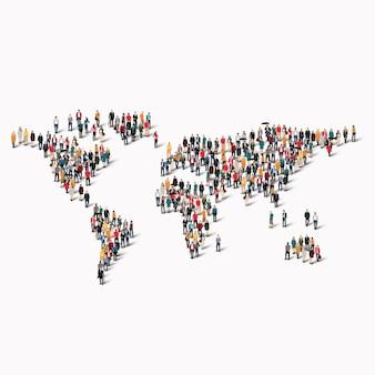 Een grote groep mensen in de vorm van een wereldkaart.