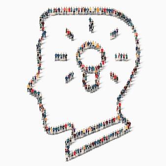 Een grote groep mensen in de vorm van het hoofd, licht, idee, icoon.