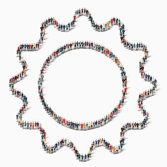Een grote groep mensen in de vorm van versnellingen, pictogram.