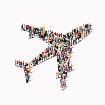 Een grote groep mensen in de vorm van vliegtuigen, transport.