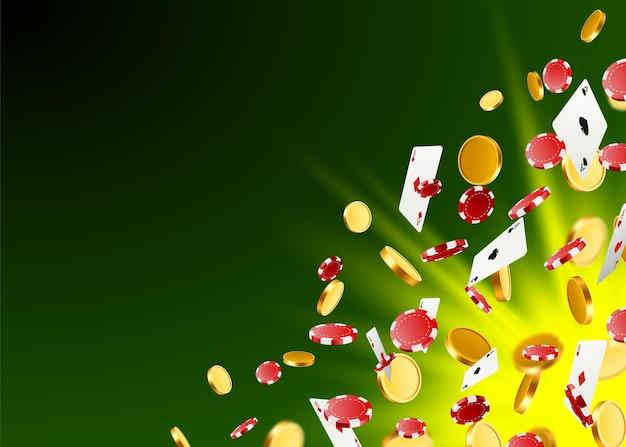 Een grote overwinning. winnen in het casino. vliegende chips, speelkaarten en munten op een groene achtergrond. vector illustratie