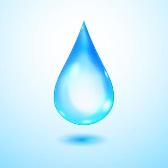 Een grote realistische doorschijnende waterdruppel in blauwe kleuren met schaduw