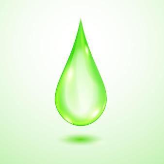 Een grote realistische doorschijnende waterdruppel in groene kleuren met schaduw