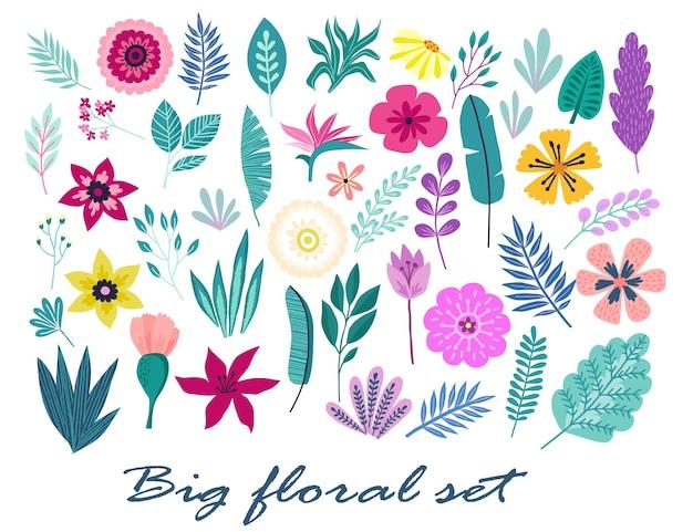 Een grote reeks handgetekende tropische bloemen, palmbladeren en takken... zomer illustratie concept met tropische bloemen hibiscus. sjabloonvector.