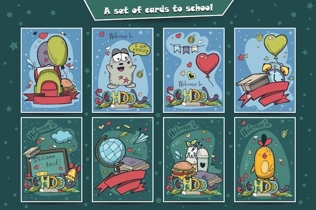 Een grote set gekleurde kaarten met doodles terug naar school