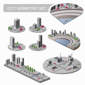 Een grote set isometrische stadsplattegronden met veel gebouwen, wolkenkrabbers, wegen en fabrieken