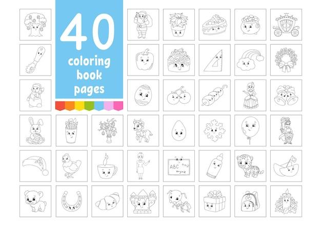 Een grote set kleurboeken voor kinderen