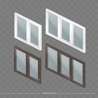 Een grote set metaal-kunststof ramen met transparante glazen in 3d. modern raam in een realistische stijl. isometrie, vectorillustratie.