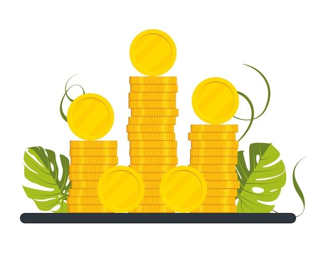 Een grote stapel gouden munten, geld. stapels, kolommen, munten. geldvermenigvuldigingsconcept, rijkdom, vectorillustratie, modern geldbeeldontwerp