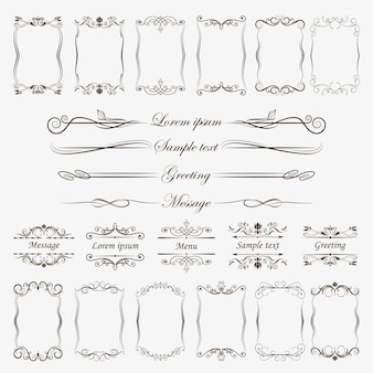 Een grote verzameling frames en scheidingslijnen