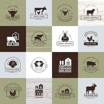 Een grote verzameling vectorlogo's voor boeren, supermarkten en andere industrieën.