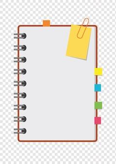 Een half kleuren open notitieblok op de veer met schone bladen en bladwijzers tussen de pagina's.
