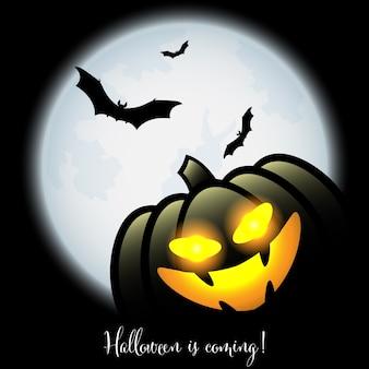 Een halloween jack o lantern met halloween komt tekst.