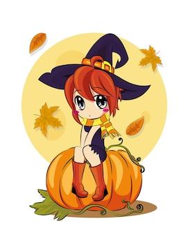 Een halloween-kat en een heks zitten 's nachts tegen een volle maan. in de buurt van de bezem, pompoen met snoep en bladeren, vluchtige vampiers en sterren. de herfstvakantie. vector, vlakke stijl, tekenfilm.