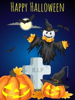 Een halloween-vogelverschrikkers met happy halloween-tekst.