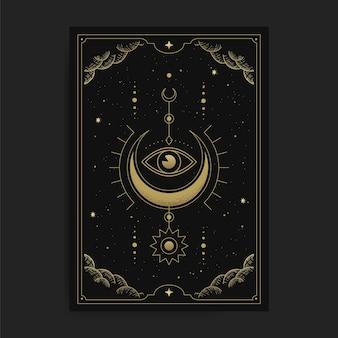Een halve maan met het innerlijke oog of één oog, kaartillustratie met esoterische, boho, spirituele, geometrische, astrologie, magische thema's, voor tarotlezerskaart