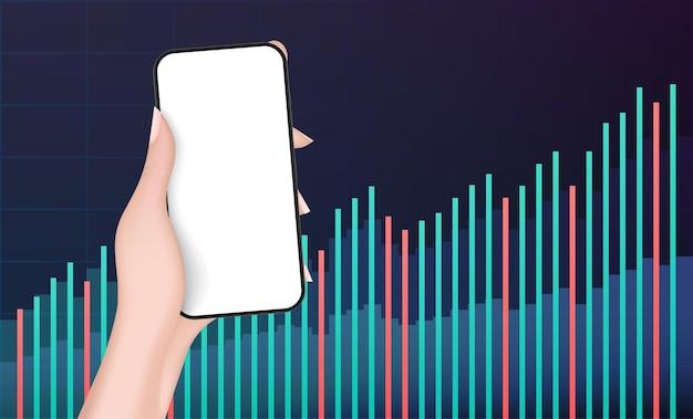 Een hand houdt een telefoon vast met een wit scherm met financiële grafieken.