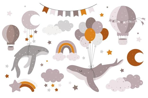 Een handgetekende collectie met walvissen ballonnen wolken regenbogen sterren ballonnen
