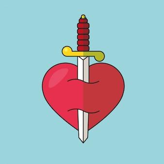 Een hart doorboord door een dolk