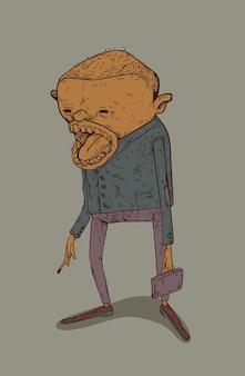 Een heel vreemde man met een sigaret en een aktetas