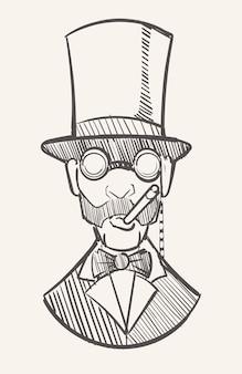 Een heer met hoge hoed met een sigaar en een monocle