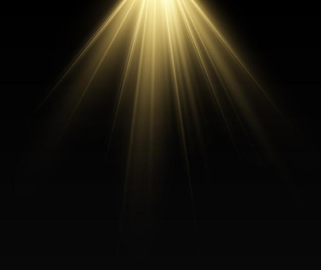 Een helder licht schijnt op een transparante achtergrond. lichtstralen afkomstig van een lichtbron.