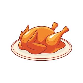 Een hele gegrilde kip op een bord Premium Vector