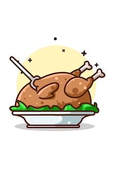 Een hele illustratie van gebraden kip