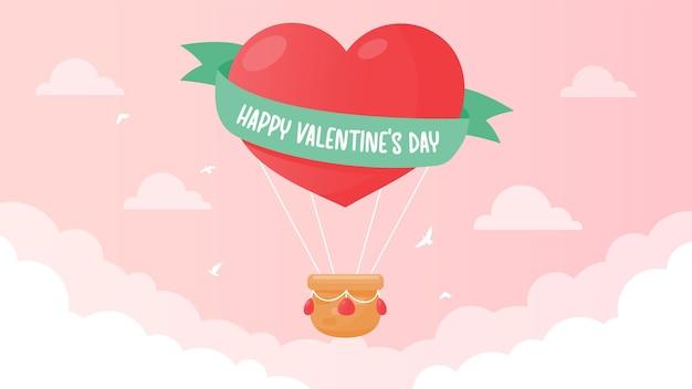 Een heteluchtballon met hartvorm zweeft in de lucht met een bericht: happy valentijnsdag