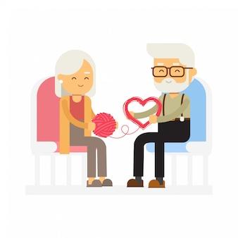 Een hoger paar die een streng van garen in een vorm van hart, gelukkige valentijnskaartendag ontwarren.